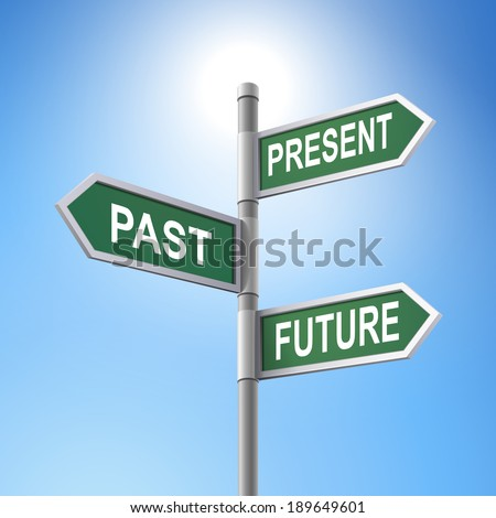 crossroad 3d road sign saying present and past and future - stock photo
