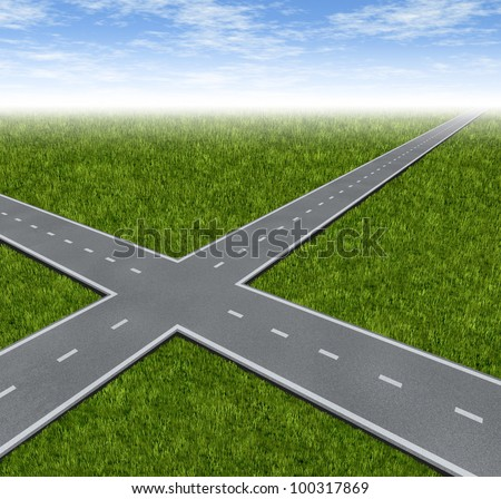 Crossroad Decision Dilemma with two roads crossing as a business symbol of difficult financial choices deciding to choose the best path to success and wealth on a green grass summer landscape. - stock photo