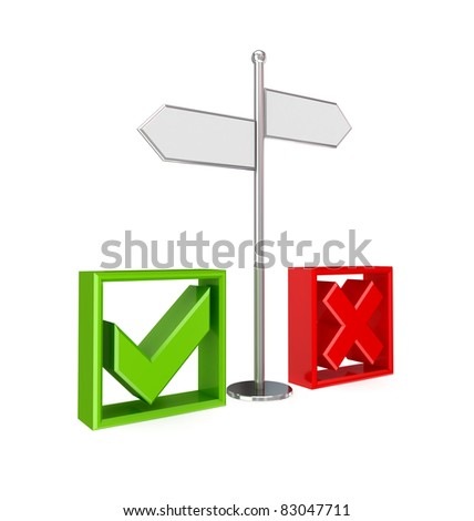 Crossroad, tick mark and cross mark. 3d rendered. Isolated on white background. - stock photo