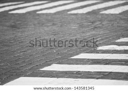 Crossroad with zebra crossing - selective focus - stock photo