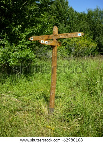 Crossroad wooden directional arrow signs, Hungary - stock photo