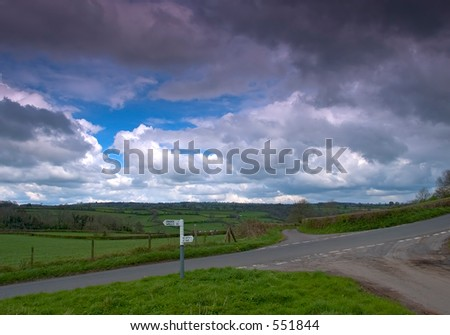 Crossroads in South West England - stock photo