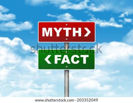 Crossroads road sign. Pointer to the right MYTH, but FACT left. Choice concept - stock photo