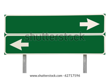 Crossroads Road Sign, Two Arrow Green Isolated - stock photo