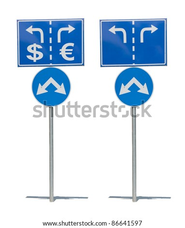Crossroads Road Sign, Two Arrow.White isolated - stock photo