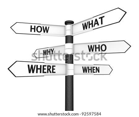 Crossroads sign with questions in every direction - stock photo