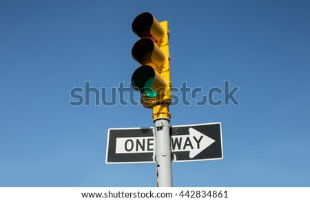 Crosswalk in New York City. Traffic lights on the streets of Brooklyn - stock photo