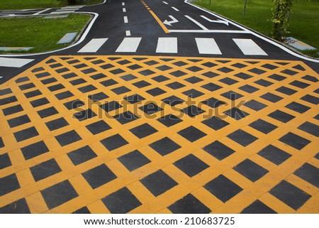 Crosswalk intersection - stock photo