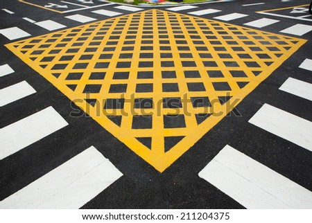 Crosswalk intersection - stock photo