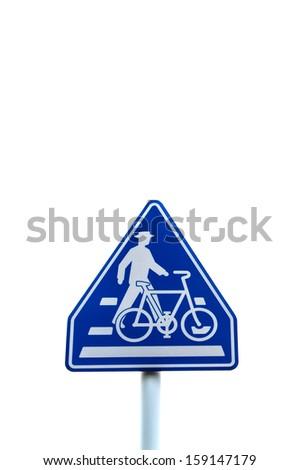 Crosswalk road sign isolated on white background - stock photo
