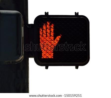 Crosswalk signal at intersection city street - stock photo