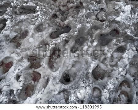 Crosswalk slush. Pedestrian crossing in winter. Abstract background. - stock photo