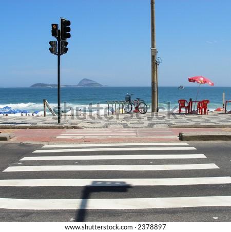 Crosswalk to the beach - stock photo