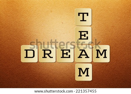 crossword puzzle of business concept of dream team in an organization for a healthy and successful work culture - stock photo