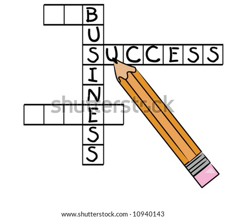 crossword puzzle with successful business words - success, business - stock photo