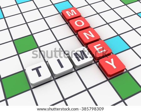 Crossword Series - TIME MONEY - High Quality 3D Render  - stock photo