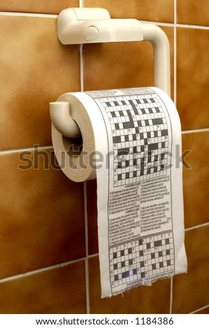 Crossword toilet paper - stock photo