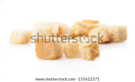 croutons pile isolated on a white background - stock photo