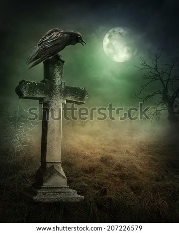 Crow on a grave at night - stock photo