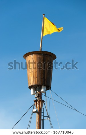 crow's nest for spotting on a fishing boat in Iceland - stock photo