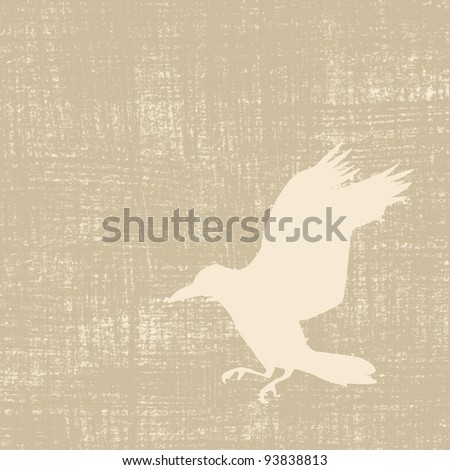 crow silhouette on grunge background - stock photo