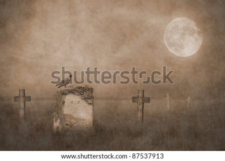 Crow sitting on a gravestone in moonlight - stock photo