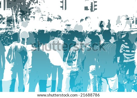 Crowd Abstract Background in Colors and White - stock photo