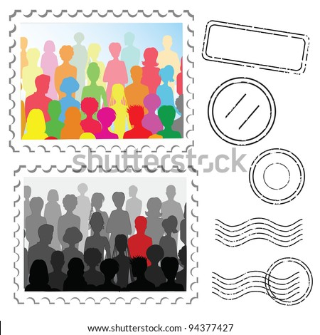Crowd ans stamps on a post stamps - stock photo