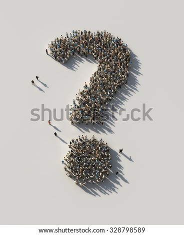 crowd as the question mark - stock photo
