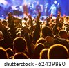 Crowd at a concert, back light silhouette - stock photo