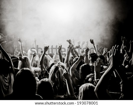 Concert crowd hands black and white - photo#6