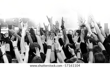 crowd at concert, b/w version - stock photo