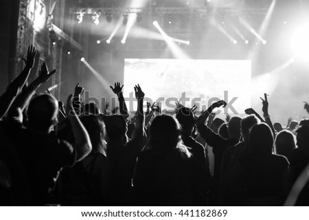 Crowd at popular music concert. - stock photo