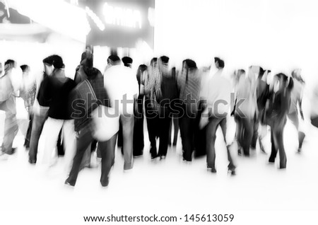 crowd audience people abstract blur motion - stock photo