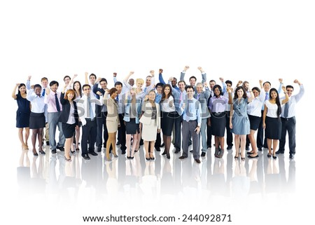 Crowd Business People Celebration Success Togetherness Team Concept