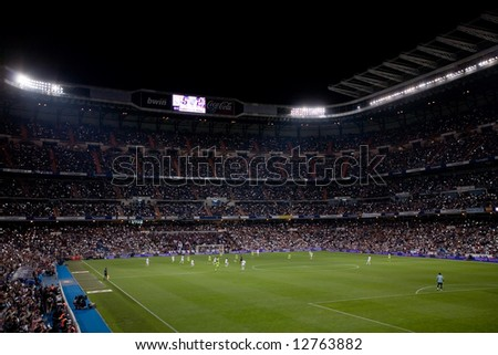 Crowd celebrates Real Madrid championship during final match of 2007-8 league season in Madrid, May 18, 2008.