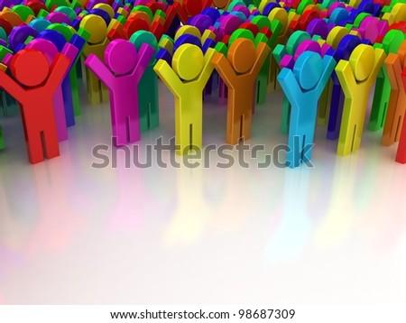 Crowd. Concept of unique. Concept of win. - stock photo