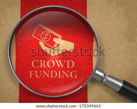 Crowd Funding Concept. Magnifying Glass with  Icon of Money in the Hand on Old Paper with Red Vertical Line Background. - stock photo