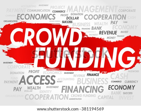 CROWD FUNDING word cloud, business concept - stock photo