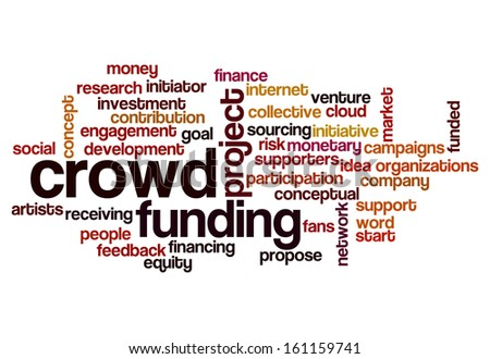 crowd funding word cloud concept for social media - stock photo