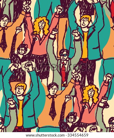 Crowd happy business people seamless pattern. Big group togetherness smiling wider audience. Color illustration.  - stock photo