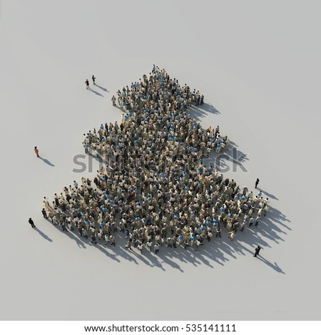 crowd in a christmas tree shape, 3d  illustration