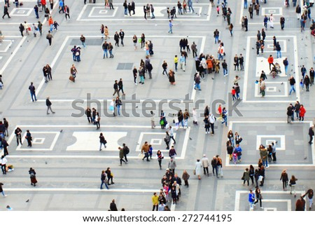 Crowd in city, view from top - stock photo