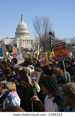 Crowd in front of capitol building at anti war rally on the National Mall, Washington, DC, Saturday, January 27, 2007. - stock photo