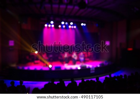 Crowd in front of concert stage Performance, Blur or Defocus as Background