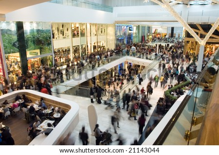Crowd in the mall - stock photo
