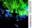 Crowd Lazer Lights Silhouette - stock photo