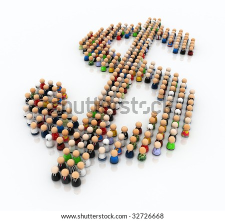 Crowd made of small symbolic 3d figures, forming a dollar sign - stock photo