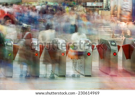 Crowd - many people on Chinese underground or subway - stock photo