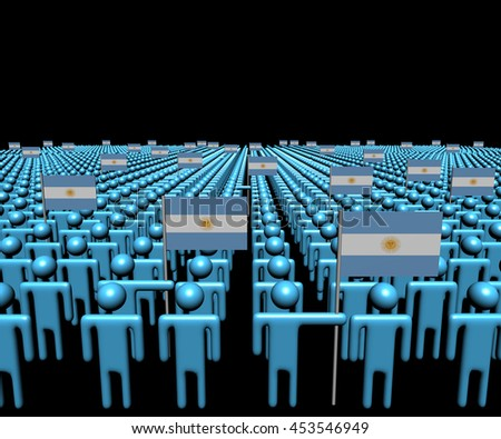 Crowd of abstract people with many Argentina flags 3d illustration